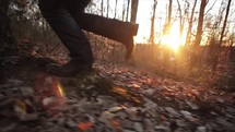 a person running in a forest