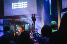 raised hands at a contemporary worship service