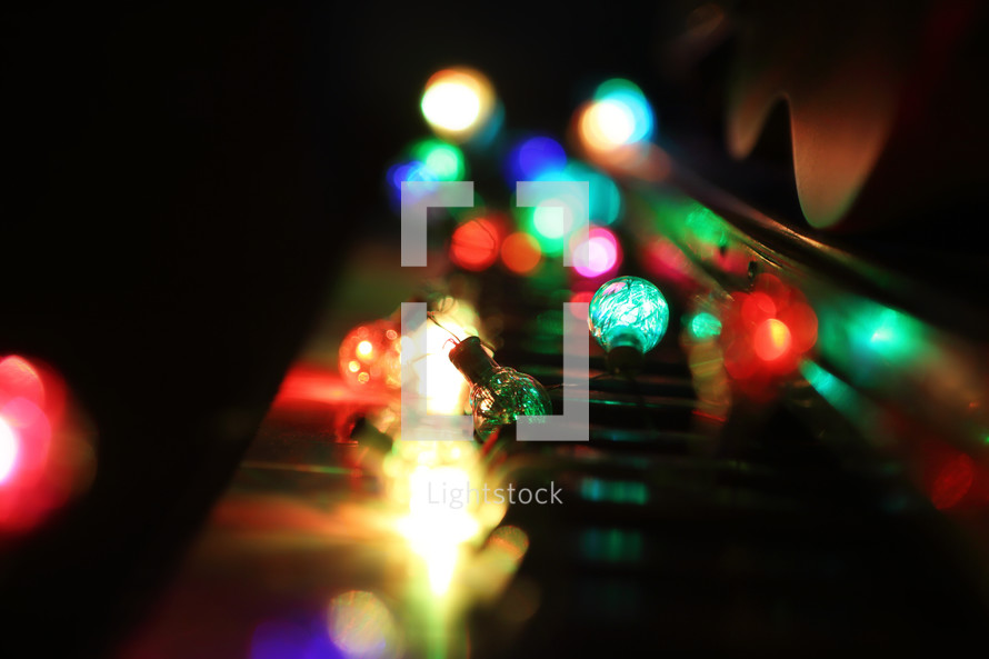 coloured retro lights on our piano keyboard
