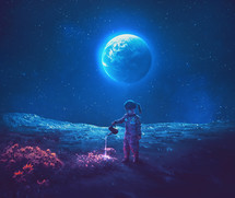 A little girl dressed as an astronaut watering beautiful flowers on the moon.