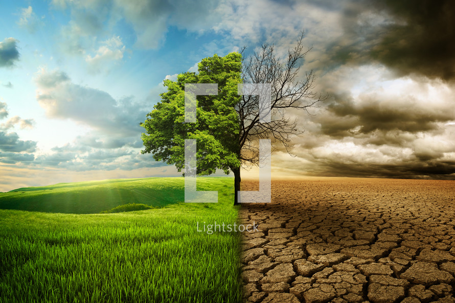 A picture of life and plenty on the left side, but drought and death on the right side.