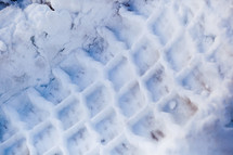 shoe print in the snow