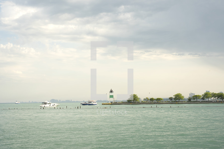 boats and lighthouse view