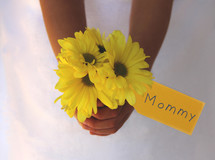 Mother's day flowers and gift tag