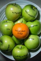 fruit of the spirit, joy, peace, kindness, self-control, apples, orange, green apples, Galatians 5:22, orange