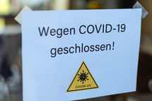 Closed due to Covid-19 - German