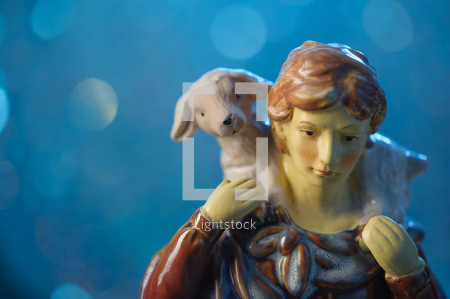 shepherd, lamp, figurine, sheep, nativity