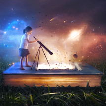 A young girl uses a telescope to look at the beautiful space scene coming from inside the pages