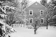 snow in a backyard