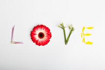 word love in flowers