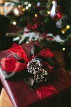 a wrapped gift under a Christmas tree