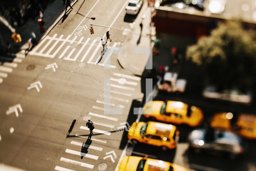 Aerial view of crosswalks
