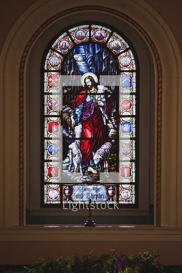 Jesus stained glass window - I am the Good Shepherd