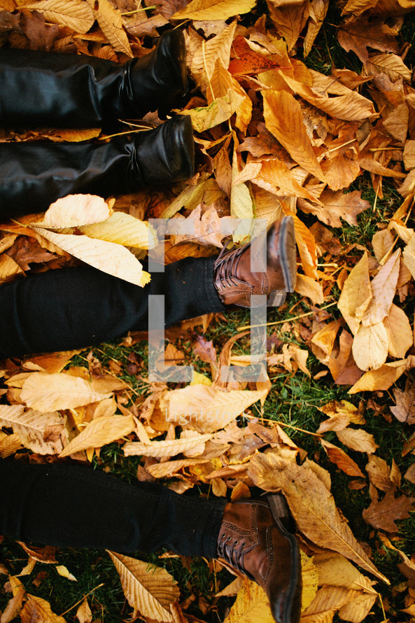 Lying in Fall leaves
