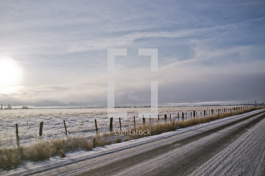 A road covered in snow