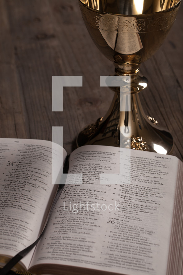 A golden communion goblet and a Bible open to Psalms.