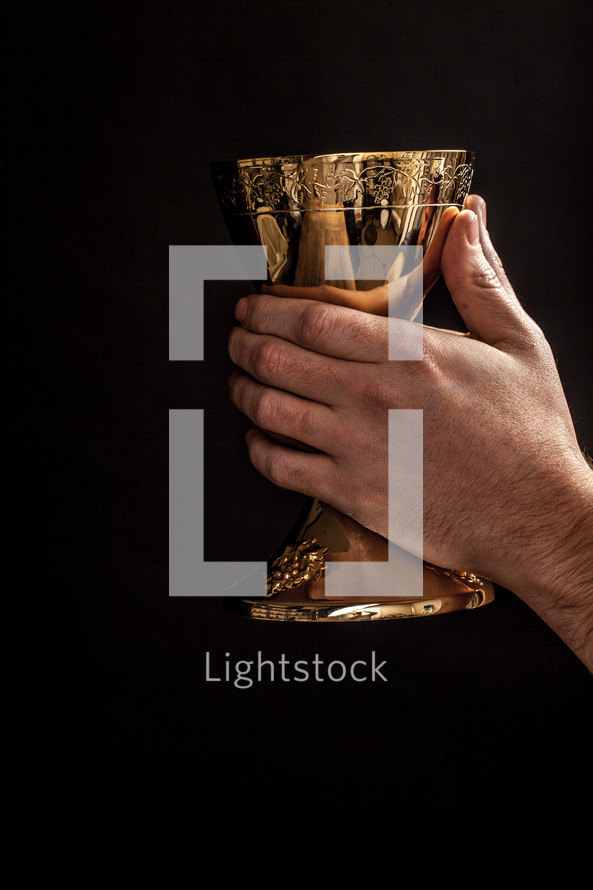 Hands raising a golden goblet.