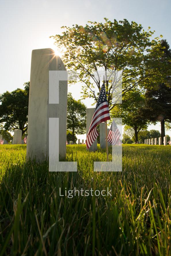 American flags near graves