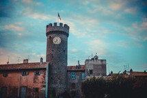 castle tower with clock