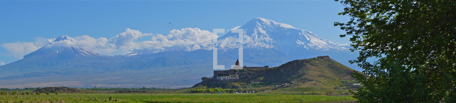 Khor Virap Church with Mt Ararat in the background, Armenia