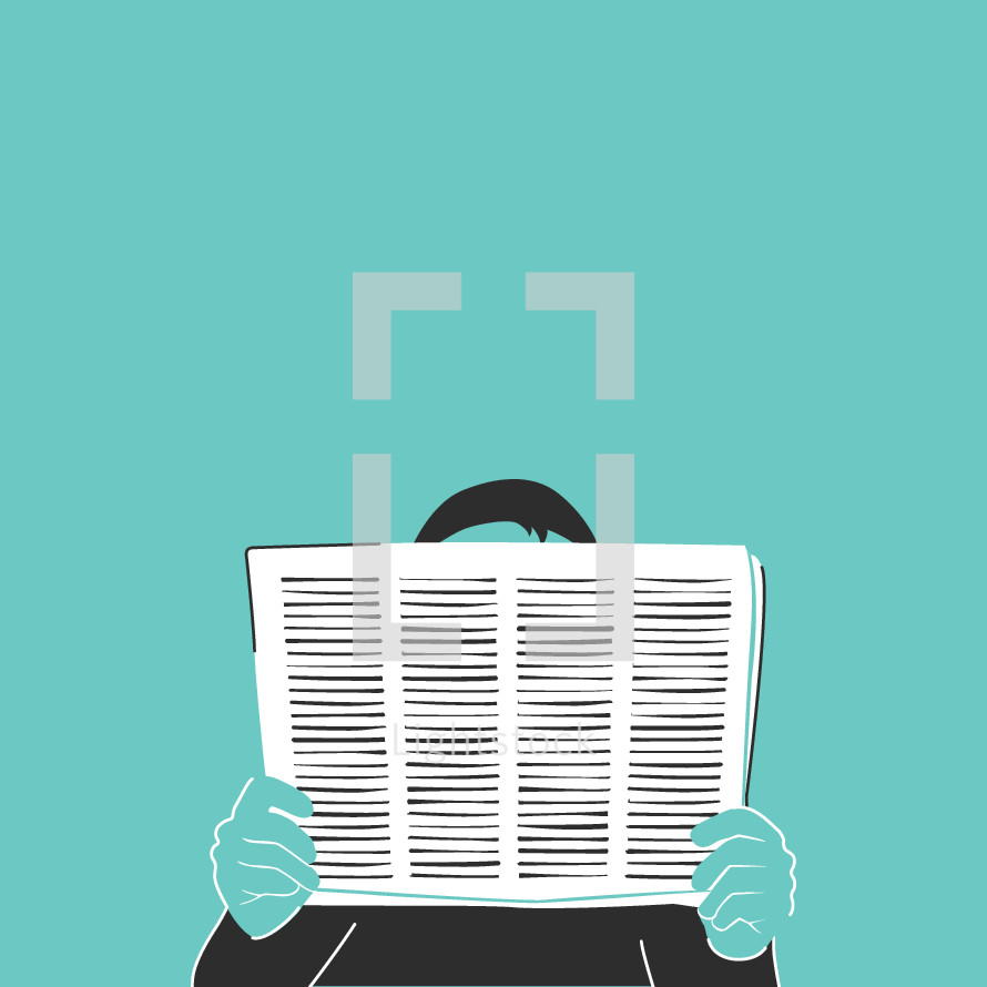 illustration of a man reading a newspaper