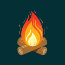 Campfire on two crossed logs, perfect for any cold camping night and some yummy smores.