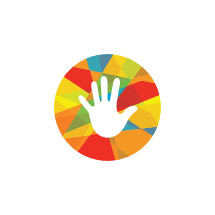 handprint in a colorful circle