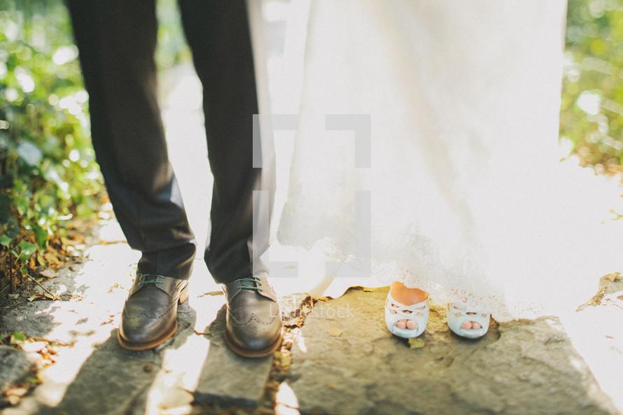 bride and groom feet