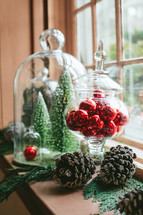 Christmas decorations in a window sill
