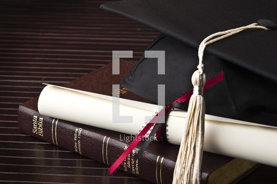 cap, tassel, graduation, Bible, diploma