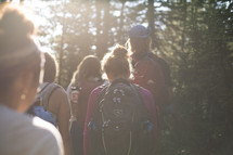 a group hiking in the woods