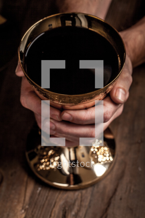 priest with a chalice at eucharist