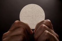 Hands holding a single communion wafer.