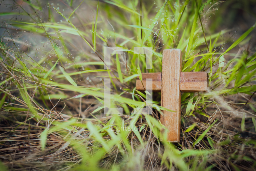 small wooden cross in grass