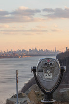 Tower viewer overlooking the New York City skyline across the water.