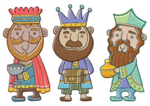 Three wisemen cartoon characters in a cartoon style suitable for kids