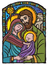 A nativity picture of the holy family in a modern woodcut style