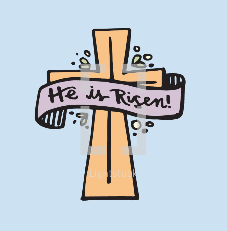 He is risen banner on a cross