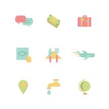 flat missions icons set.