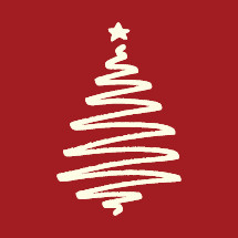white sketched Christmas tree on red background.