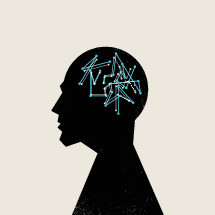 conceptual illustration of man with brain activity.