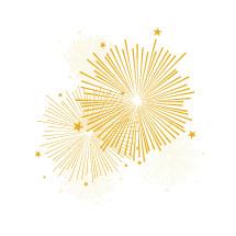 bursting fireworks gold
