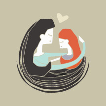 Vector illustration of love between a mother and daughter.