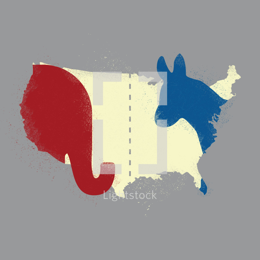 political illustration of USA map with elephant and donkey silhouettes.