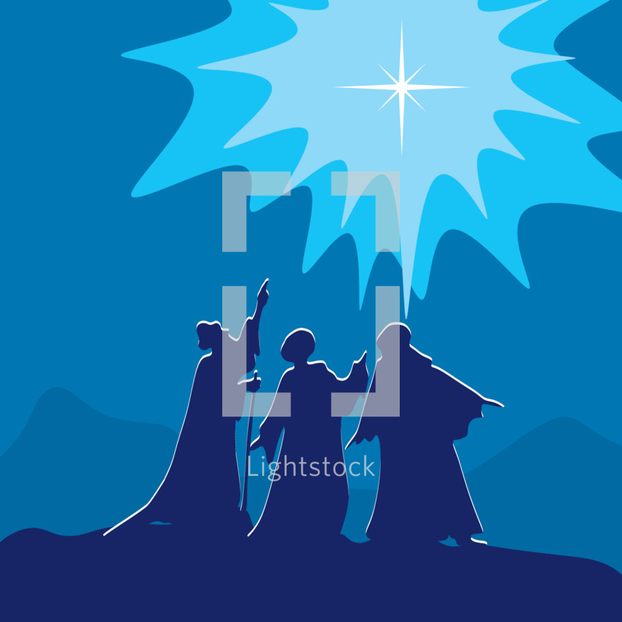 wise men pointing to the star of Bethlehem