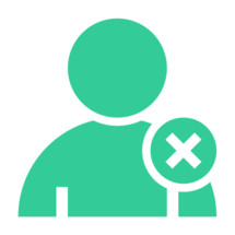 don't accept. Person user icon with delete symbol. Member sign. Avatar button. Man pictogram. Web internet icon created in trendy flat style. Quick and easy recolorable shape isolated on white background. The graphic element saved as a vector illustration in the EPS file format for used in your design projects.
