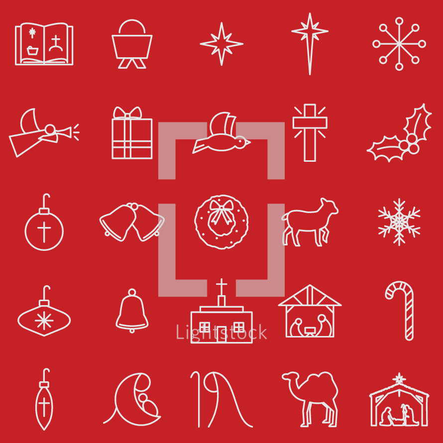 Christmas simple line icon set including Bible, manger, star, snow flake, angel, present, dove, cross, holly, bulb, ornament, bell, bells, wreath, lamb, church, nativity, candy cane, Mary, Joseph, Jesus, camel, worship.
