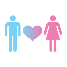 Man and woman and heart