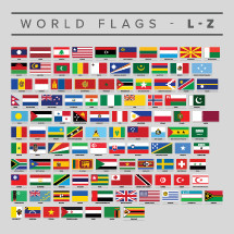 Set of world flags L-Z