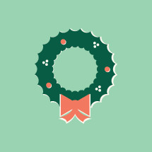 Christmas wreath illustration.